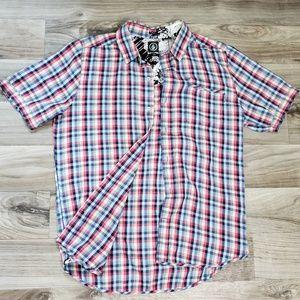 Volcom Plaid Short Sleeve Button Down Shirt G37